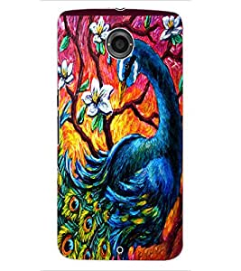 ColourCraft Beautiful Peacock Drawing Design Back Case Cover for MOTOROLA GOOGLE NEXUS 6