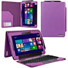 Evecase® 2-in-1 Leather Keyboard Portfolio Stand Case Cover for ASUS Transformer Book T100 / T100TA-C1-GR 10.1-Inch Convertible Touchscreen Laptop Tablet ( Purple)