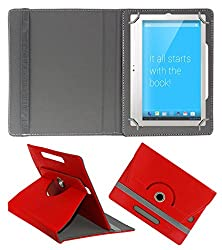 Acm Rotating 360° Leather Flip Case For Notion Ink Adam 2 Tablet Stand Cover Holder Red