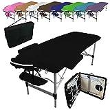 Linxor France  Table de massage pliante 2 zones en aluminium + accessoires et housse de transport - Neuf coloris - Norme CE
