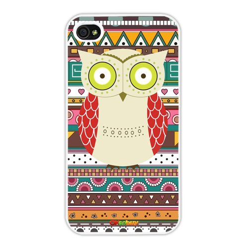 Iphone 4 4s Case Retro Style Owl Aztec Andes Tribal Pattern Iphone 4 Cases (White Pc+pearlescent Aluminum) Ok-0101000108031602