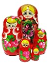 GreatRussianGifts Golden Tiara nesting doll 5-pc Red