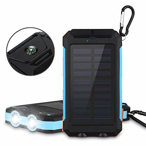 Aedon モバイルバッテリー 大容量10000mAh ソーラーチャージャー 羅針盤が付き 防水設計 2USBポート スーマットフオン iPhone、Samsung、Sony、HTCデバイスなど充電できる 充電できる (黒色)