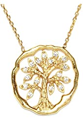 CZ & Gold Tree of Life Necklace