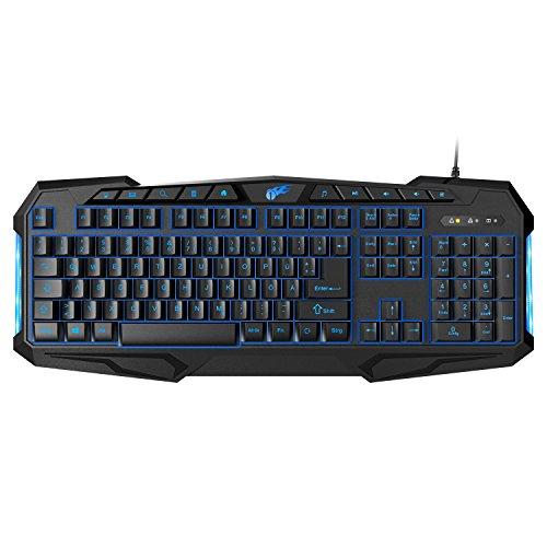 1byone Gaming Tastatur mit 114 Tasten, Hintergrundbeleuchtung, Multimedia Tasten und konfigurierbarem Licht