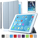 Besdata For Apple iPad Air Magnetic Smart Cover Stand + Hard Back Case Free Stylus - Supreme Quality - Protects the Device - UK Stock - Silver- PT4108