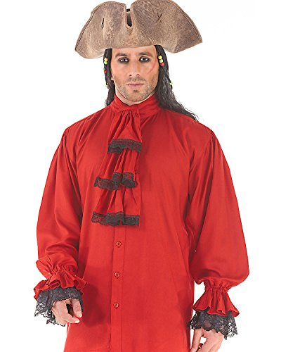 Medieval Poet's Pirate Colonial Shirt Costume C1086 [Red]
