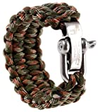 Emergency Quick Deploy - The Friendly Swede Premium 500 lb Paracord Survival Bracelet with Silver Stainless Steel D Shackle - Adjustable Size Fits 6.5-7.5 Inch Wrists - In Retail Packaging - Lifetime Warranty (Army Green Camo, 9-inch)