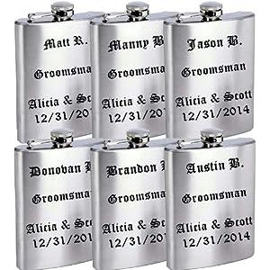 Set of 6 8oz Stainless Steel Groomsmen / Bridesmaid Gift! Flask - Free Laser Engraved