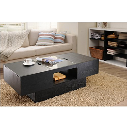 Black Wood Coffee Table With Storage & Glass Surface Area Is The Perfect Centerpiece Decor For Any Living Room. This Contemporary Coffee Table Is A Beautiful, Regal And Unique Piece Of Furniture That Will Bring A Sense Of Elegance To Your Home. front-674934