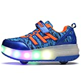 Uforme Kids Boys Girls Light Weight Shoes Single Wheel Double Wheel Roller Skate Shoes Led Light Up Sneakers (4.5 M US =CN37, Blue/Lace Up+Velcro-Double Wheel)