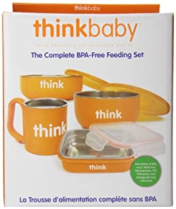 Thinkbaby Complete BPA Free Feeding Set, Orange, 6 Months