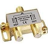 Monoprice 110013 Premium 2-Way Coax Cable Splitter F-Type Screw for Video VCR Cable TV Antenna (110013)