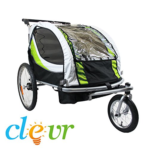 Find Bargain New Clevr Deluxe Child Bicycle Trailer Baby Bike Jogger Green Running Carrier