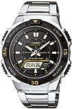 Casio CASIO Collection Men - Reloj analógico - digital de caballero de cuarzo con correa de acero inoxidable plateada (alarma, cronómetro, luz, solar) - sumergible a 100 metros