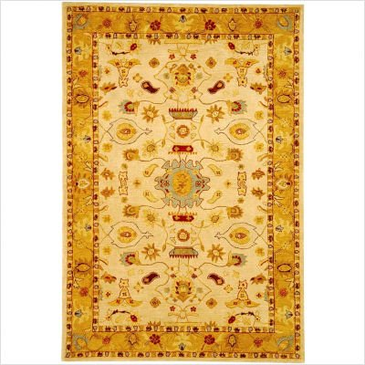 Safavieh AN543C Anatolia Collection 6-Feet Handmade Hand-Spun Wool Square Area Rug, Ivory and Gold