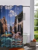 Lushomes Digitally Printed Aqua Shower Curtain with 10 Eyelets