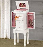 Jewelry Armoire with Pink Hardware in Matte White Finish