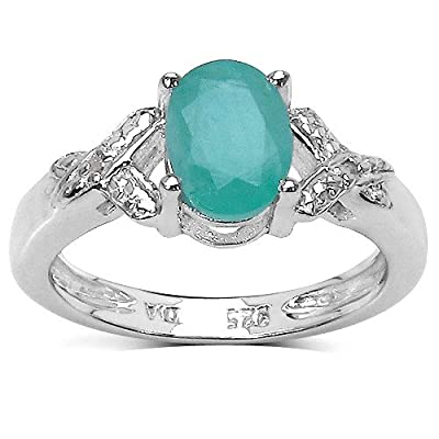 The Emerald Ring Collection: Sterling Silver 1.00CT Emerald Engagement Ring with Diamond Shoulders