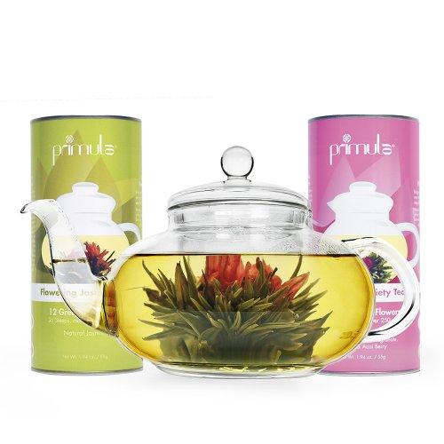 Primula 40-Ounce Daisy Tea Pot With 24 Variety Flavor Flowering Teas front-201397