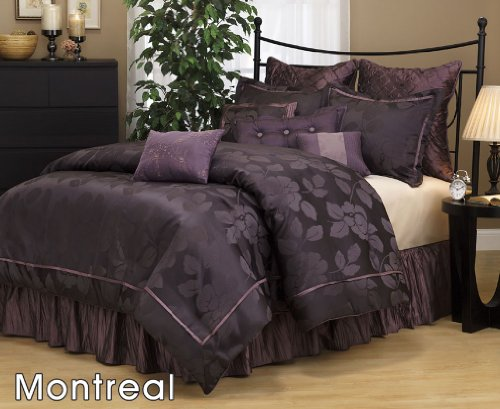 7 Pieces Dark Purple Jacquard Lotus Flower Comforter Set Bed-in-a-bag Full Size Bedding