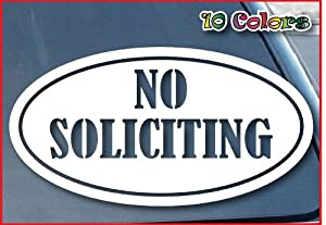 "No Soliciting Sign Car Window Vinyl Decal Sticker 5"" Wide (Color: White)"