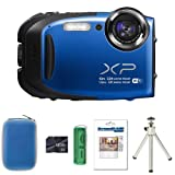 Fujifilm FinePix XP70 - Blue + Case + 8GB Card + Multi Card Reader + Screen Protector and Tripod (16.4MP, 5x Optical Zoom, Waterproof to 10m, Shockproof to 1.5m) 2.7-Inch LCD