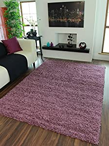 Ontario Dense Soft Touch Yarn Mauve Shag Pile Rugs - Available in 4 Sizes by The Rug House