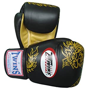 Buy Twins Special Muay Thai Boxing Gloves FBGV-6G-BK Black Gold Dragon 8-10-12-14-16 Oz. by Twins Special