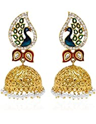 YouBella Dancing Peacock Gold Plated Pearl Jhumki Earrings For Women