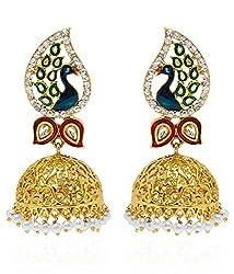 Youbella Dancing Peacock Gold Plated Pearl Jhumki Earrings For Women
