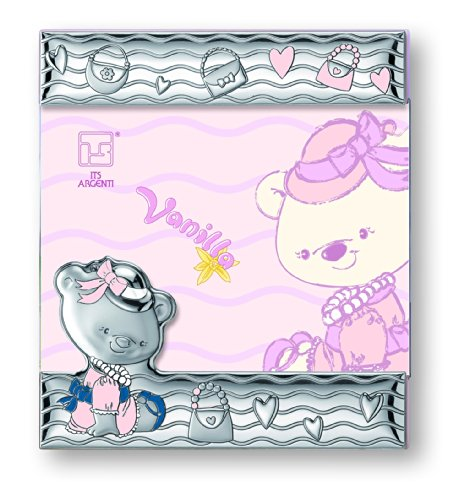 Silver Touch USA Sterling Silver Vanilla Bear Picture Frame, Pink