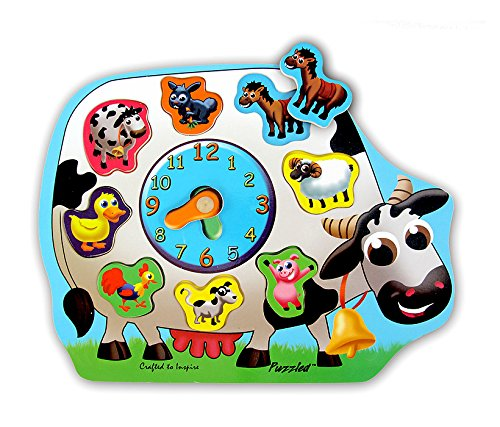 Wooden Clock Puzzle - Farm Animals - 1