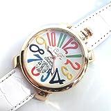 ホワイト&ホワイト(A) トップリューズ式ビッグフェイス腕時計 マルチカラー文字盤47mm GaGa MILANO ガガミラノ好きに(全7色)