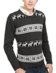 Mens Casual Reindeer Sweater CHARCOAL
