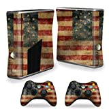MightySkins Skin For X-Box 360 Xbox 360 S console - Vintage Flag | Protective, Durable, and Unique Vinyl Decal wrap cover | Easy To Apply, Remove, and Change Styles | Made in the USA (Color: Vintage Flag, Tamaño: Xbox 360 S console)