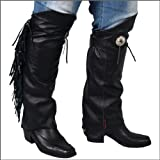 Motorcycle Biker Leather Leg Warmer Half Chap M/L by NYC Leather Factory Outlet