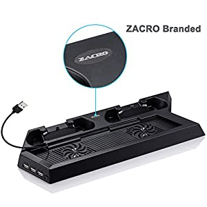 Zacro PS4 Vertical Stand Cooling Fan Dual Charging Station for Playstation 4 DualShock 4 Controllers, with Dual USB HUB Charger Ports - Dual Use with Best Cooling and Charging System