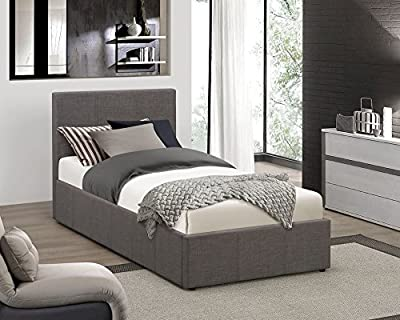 Happy Beds Berlin Ottoman Bed Grey Fabric Modern Storage Mattresses Bedroom