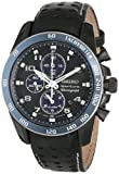 Sportura Chronograph Stainless Steel Case Leather Strap Alarm Black Tone Dial