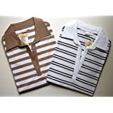 Womens Buttonless Johnny Collar Stripe Polo Tops 2 Piece Set Holiday Gift