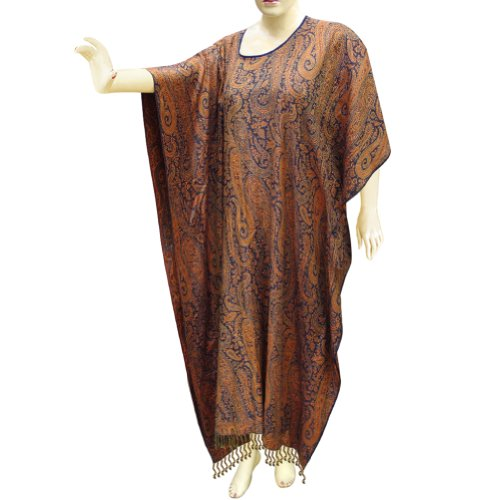 Women Long Wear Jamawar Cotton Kaftans Caftan In Paisley Pattern