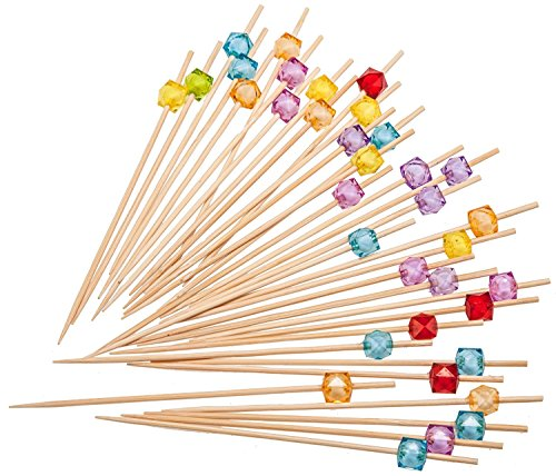 PuTwo Pics à Cocktail Cure-dents Bois 12.5 cm Pour Noël Lot de 100 - Couleurs Mixte