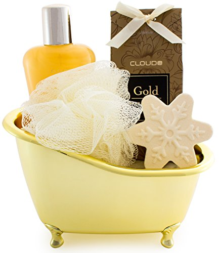 BRUBAKER 5 Pcs Gift Set 'Vanilla' Beauty Spa Set With Golden Bathtub, Bath Fizzer, Shower Gel, Bath Crystals, Sponge