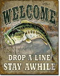 "Welcome Bass Fishing Tin Sign 16"" X 12.5"""