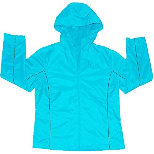 Apparel No. 5 Women's Double Side Piping Lightweight Hooded Windbreaker Jacket,Medium,Scuba Blue/Charcoal Double Piping