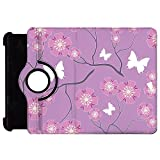 Butterflies on Purple Rotate Flip Folio Case for iPad 2 3 4 Mini, Kindle Fire, & Samsung Galaxy Note - Kindle Fire HD 7in (1st Gen) Rotary Cover