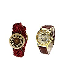 COSMIC COUPLE WATCH- RED DESIGNER ANALOG WATCH FOR WOMEN AND BROWN SKELETON WATCH FOR MEN- PACK OF 2