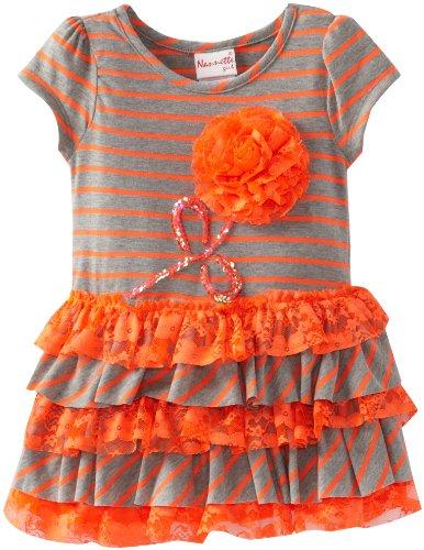 Nannette Little Girls' 1 Piece Stripped Flower Dress, Gray, 3T