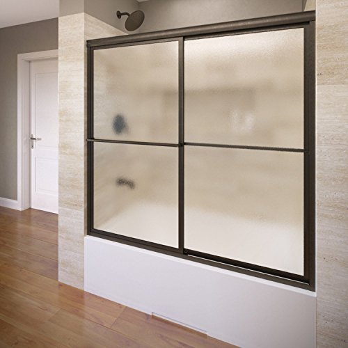 Basco Deluxe Framed Sliding Tub Door, Fits 56-59 inch opening, Obscure Glass, Oil Rubbed Bronze Finish (Sliding Shower Doors Bronze compare prices)